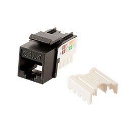 Keystone, Cat 6, RJ45, Punchdown, Black