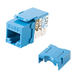 Keystone, Cat 6, RJ45, Punchdown, Blue