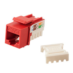 Keystone, Cat 6, RJ45, Punchdown, Red