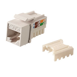 Keystone, Cat 6, RJ45, Punchdown, White