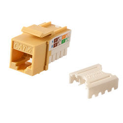 Keystone, Cat 6, RJ45, Punchdown, Yellow