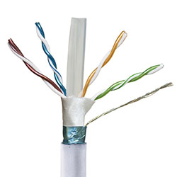 Shielded, Cat 6a, White Jacket, Plenum